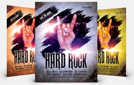 hard rock event flyer psd template free