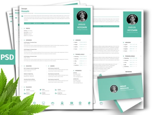 resume and business card psds