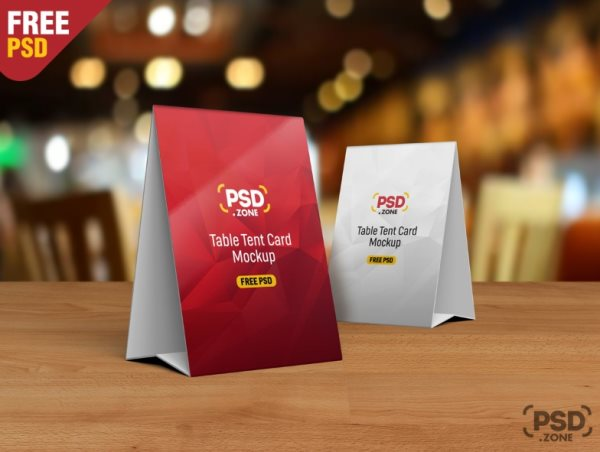 free table tent mockup PSD