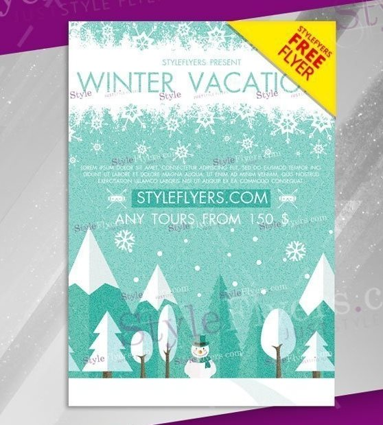 free winter vacation flyer template