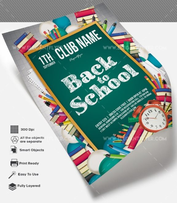 free back to school flyer PSD template