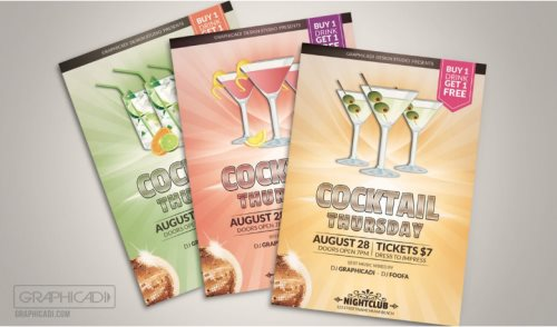 free cocktail flyer template for photoshop psd