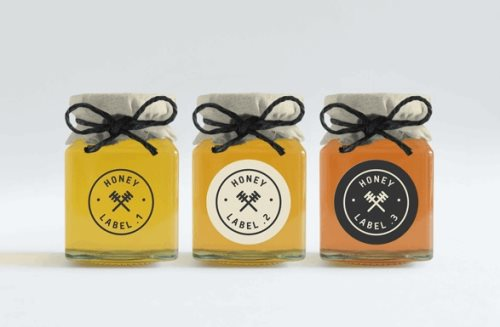 honey jars with labels