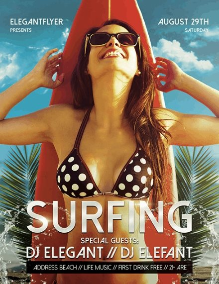 free surfing flyer psd