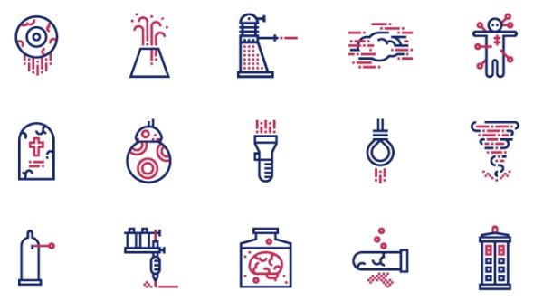 free science fiction design icon set