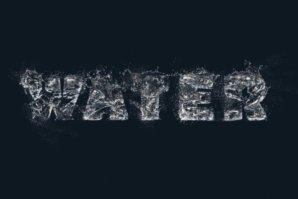 splashing water text effect