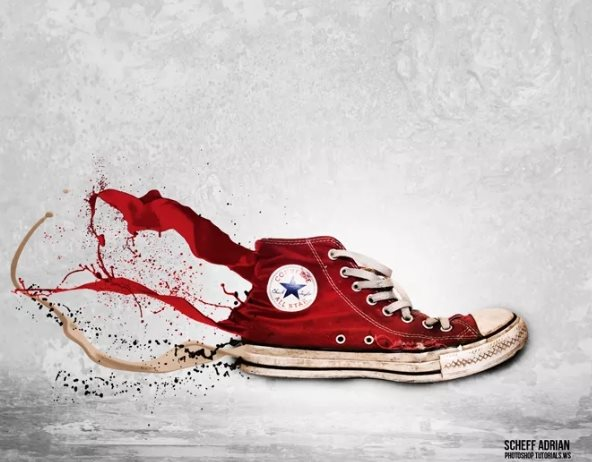 splashing sneaker effect free Photoshop tutorial