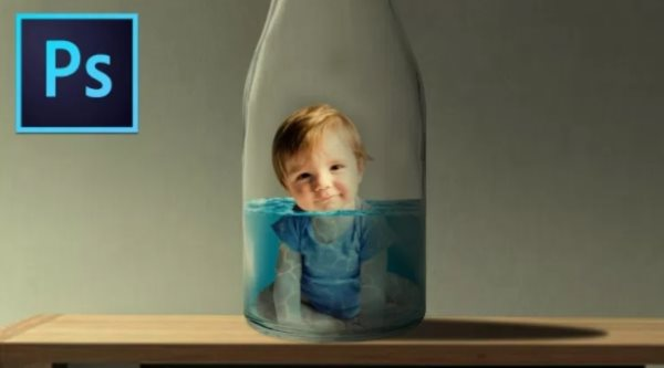baby in a bottle photomanipulation tut