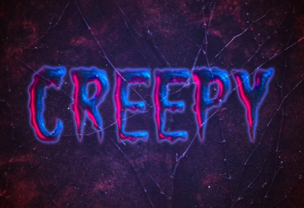 creepy text effect