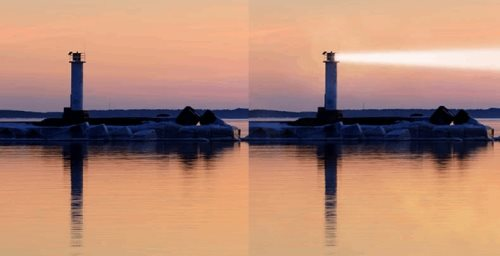 add light beams in Photoshop lighthouse