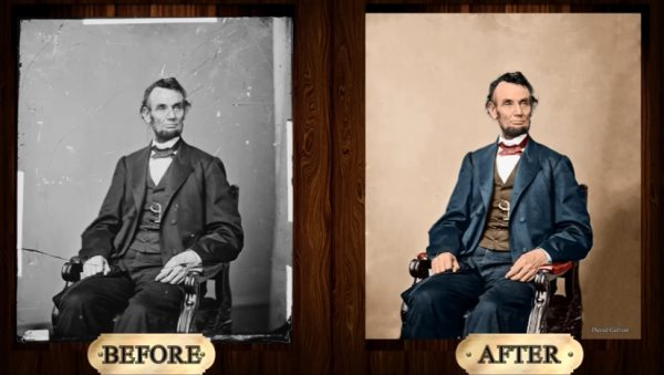 Abraham Lincoln photo restoration before and after tutorial