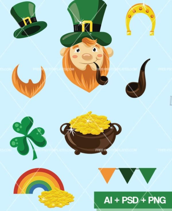 free icon set for St. Patrick's Day