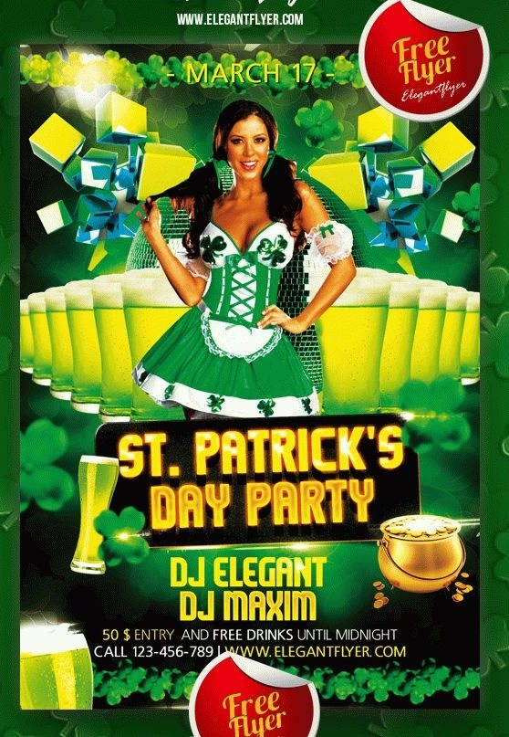 free st patrick's day marketing flyer template