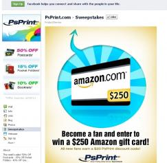 'Like' PsPrint on Facebook – Enter to Win a $250 Amazon Gift Card!