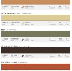 10 Sweet Color Palettes for November