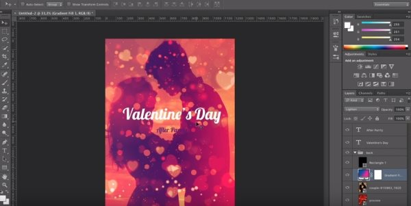 free Valentine's Day poster design tutorial