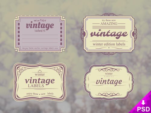 vintage winter labels