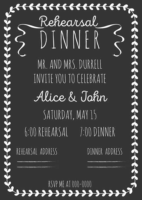wedding rehearsal dinner invitation cards