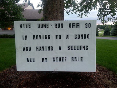 for sale by owner yard sign funny