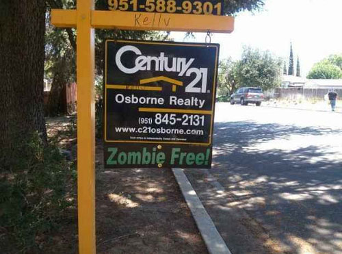 no zombies yard sign real estate