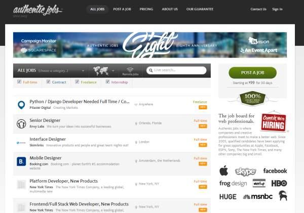 find freelance web design jobs